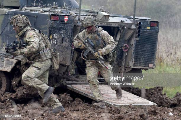 Soldiers in action as the British Army demonstrate the latest and future technology used on operations across the globe on Salisbury plain training...