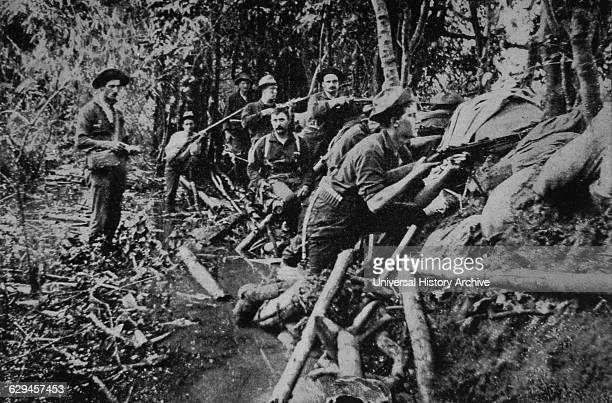 US Soldiers in Combat Near Manila during PhilippineAmerican War circa 1900