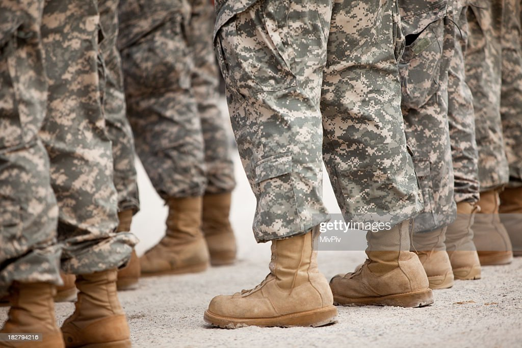 Soldiers in formation : Stock Photo