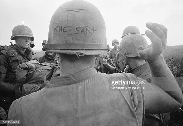 Soldiers in Khe Sanh meeting backup troops during the liberation of Khe Sanh by the First US Airborne Cavalry Division