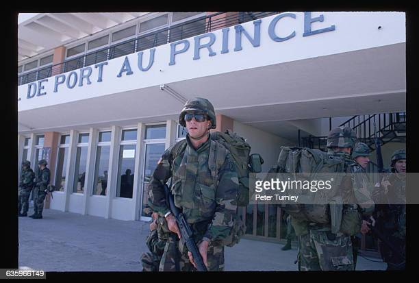US soldiers in PortauPrince Haiti for a United Nations operation Their mission is to insure a peaceful transition of government from General Raoul...