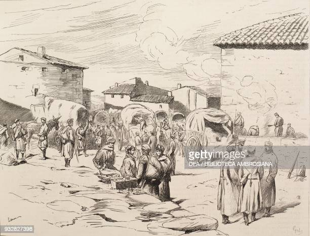 Soldiers in the central square of Oteiza Spain Carlist Wars illustration from La Ilustracion Espanola y Americana magazine Year 19 Number 11 March 22...