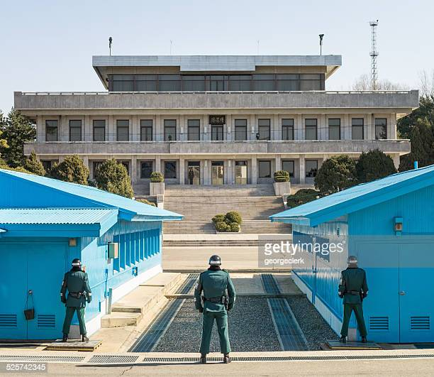 Soldiers in the Demilitarized Zone between North and South Korea