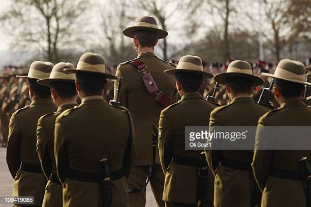Soldiers in The Queen's Gurkha Engineers stand to attention in the parade square of Invicta Park Barracks on February 24 2011 in Maidstone England...