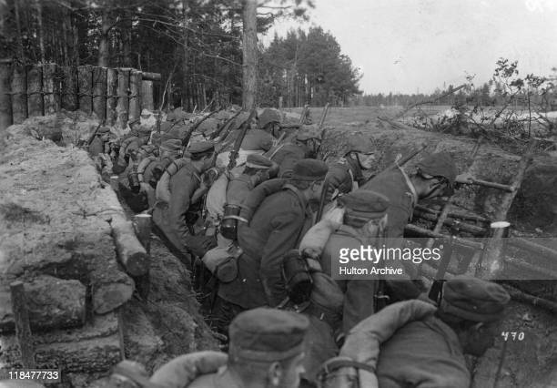 Soldiers in the trenches during World War One ready to launch an assault in Wolyn Voivodeship Poland circa 1916