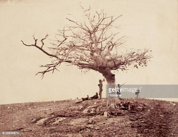 Soldiers in the West Woods stand a lonely guard around the grave of John Marshall a soldier with Company L 28th Pennsylvania Infantry Regiment killed...