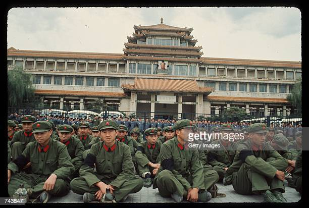 Soldiers in Tiananmen Square September 18 1976 honor Chinese Leader Mao Zedong's death in Peking China Zedong died September 9 1976 from...