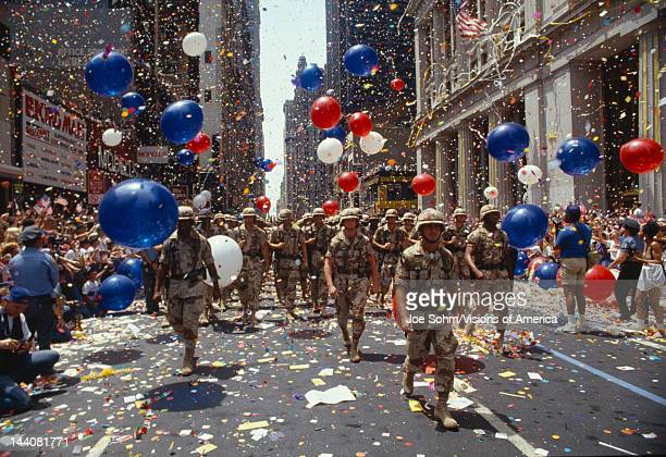 Soldiers in tickertape parade New York