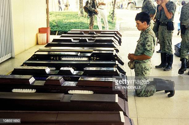 Soldiers killed during fights with the guerrilla in Colombia in February , 1988.