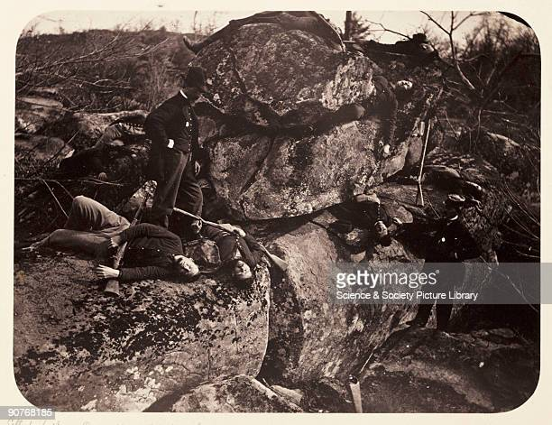 Soldiers Lay Here�. Albumen print of dead bodies on the battlefield at Gettysburg, Pennsylvania. Little Round Top was the scene of bitter fighting...