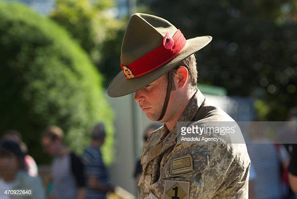 Soldiers line up during the Anzac Day eve street parade on April 24, 2015 in Wellington, New Zealand. The parade was organized to remember the 100th...
