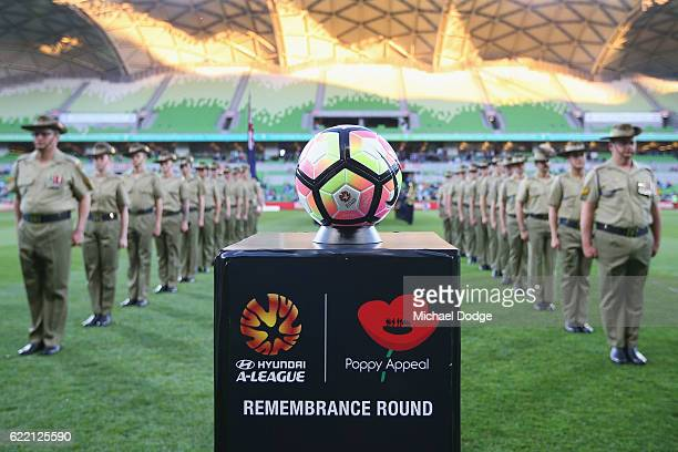 Soldiers line up for a guard of honour for Rememberance Round during the round six ALeague match between Melbourne City FC and Newcastle Jets at AAMI...