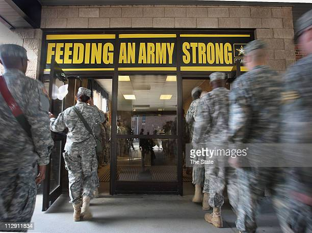 Soldiers line up for lunch at this Fort Jackson dining facility January 8 in Columbia South Carolina The facility is taking home the Connelly Cup for...