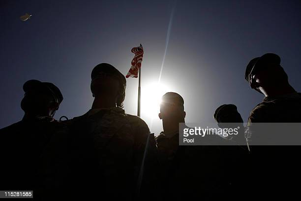 S soldiers listen to US Secretary of Defense Robert Gates speak on June 6 2011 at Forward Operating Base Shank in Logar Province Afghanistan Gates is...