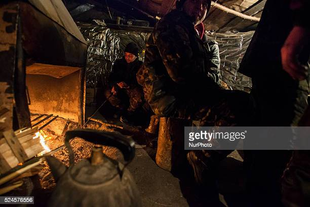 Soldier's living accommodation at proving ground near ATO zone Donetsk region Ukraine on January 10 2015