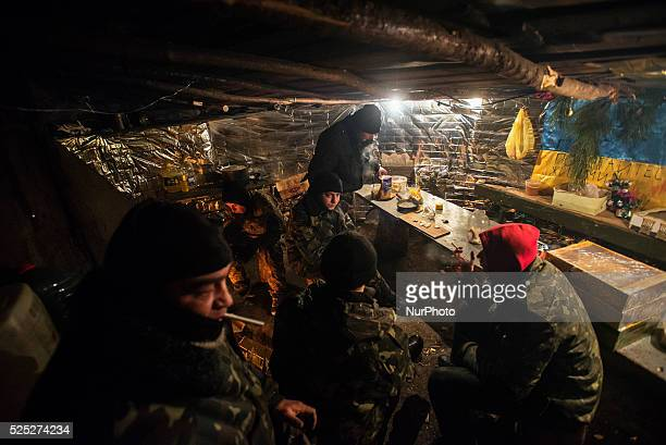 Soldier's living accommodation at proving near ATO zone Donetsk region Ukraine on January 10 2015