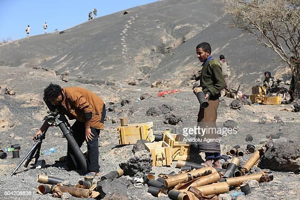 Soldiers loyal to President of Yemen Abd Rabbuh Mansur Hadi patrol at Ma'rib's Cebel Heylan region Yemen on January 09 2016