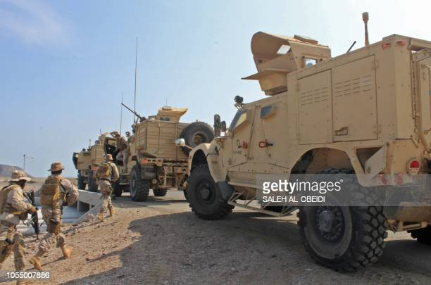 Soldiers loyal to Saudiled coalition forces are seen in the southern Yemeni port of Aden on October 29 2018 Saudi ambassador to Yemen arrived in the...