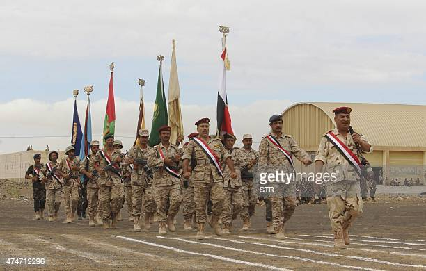 Soldiers loyal to Yemen's President AbdRabbu Mansour Hadi march during a parade in Marib province east of the capital Sanaa on May 25 2015 Rebel...