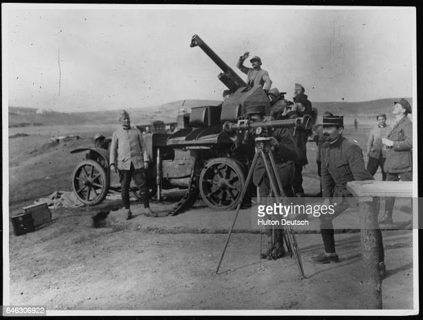 Soldiers man an antiaircraft gun at the Balkan Front World War I Austria Germany and Bulgaria invaded Serbia on October 6th and had seized Belgrade...