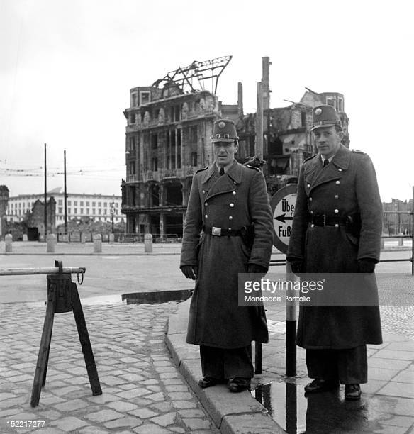 Soldiers managing the access on the border between West and East Germany German Democratic Republic 1950s