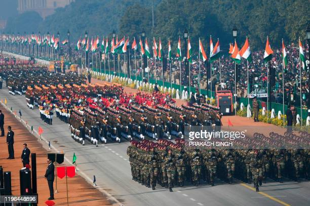 Soldiers march along Rajpath during the Republic Day parade in New Delhi on January 26 2020 Huge crowds gathered for India's Republic Day parade on...