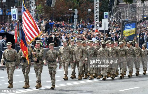 US soldiers march during a military parade in Kiev on August 24 2017 to celebrate the Independence Day 26 years since Ukraine gained independence...