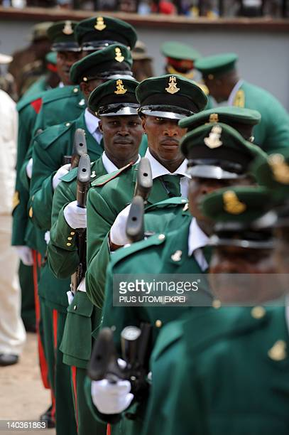 Soldiers march during the burial of Nigeria's secessionist leader Odumegwu Ojukwu at his native Nnewi country home in Anambra State eastern Nigeria...