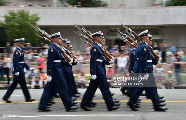 US soldiers march during the Memorial Day Parade on Constitution Avenue on May 30 2016 Washington DC / AFP / MLADEN ANTONOV