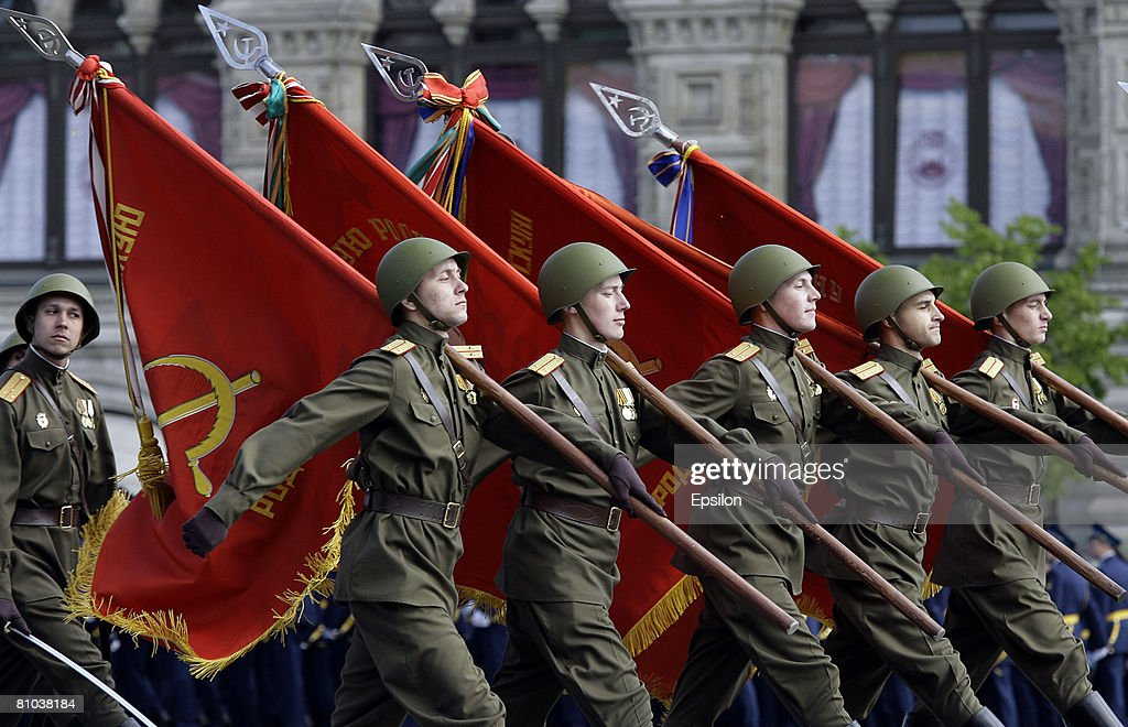 Soldiers march in the annual Victory Day military parade at Red Square May 9, 2008 in Moscow, Russia. Over 26 million Soviet soldiers killed during World War II were honored on one of the nation's most important national holidays. Around 8,000 soldiers in newly designed uniforms paraded in the largest Victory Day display of heavy weaponry since the collapse of the Soviet Union.