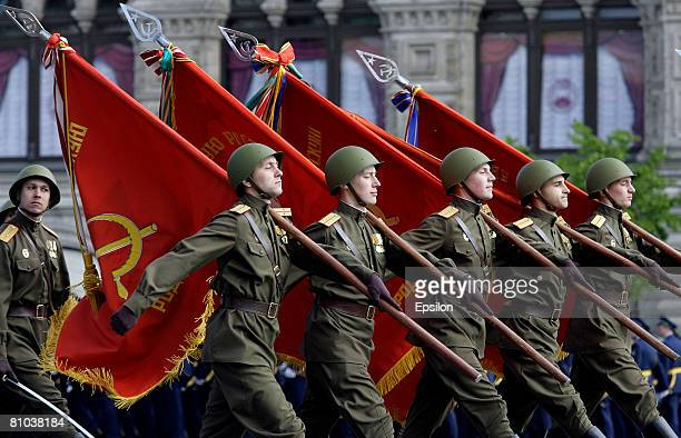 Soldiers march in the annual Victory Day military parade at Red Square May 9 2008 in Moscow Russia Over 26 million Soviet soldiers killed during...