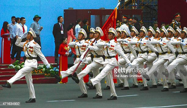 Soldiers march on during the parade on April 30 2015 in Ho Chi Minh City Vietnam Vietnam marks the 40th anniversary of the Fall of Saigon which ended...