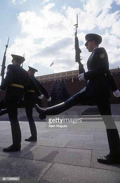 Soldiers march outside Lenin's Mausoleum in Moscow after a 1991 coup attempt is thwarted The State Committee for the State of Emergency a group led...