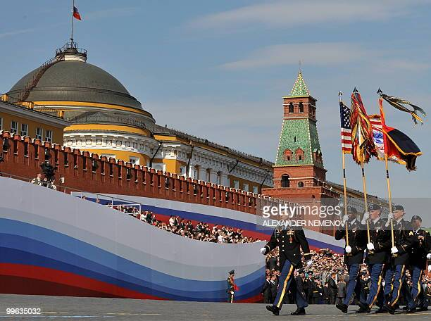 US soldiers march through Red Square during the Victory Day parade in Moscow on May 9 2010 Troops from four NATO states marched through Red Square...