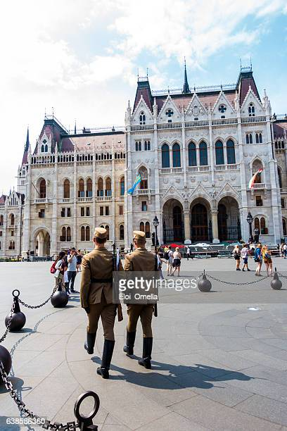 soldiers marching budapest parliament hungary vertical soldier