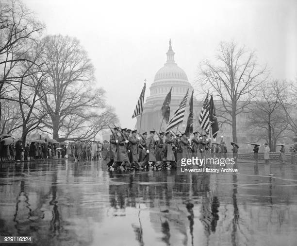 Soldiers Marching during Army Day Parade, Washington DC, USA, Harris & Ewing, April 1939.
