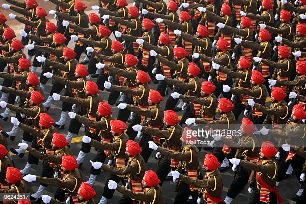 Soldiers marching during the final full dress rehearsal for the Indian Republic Day parade in New Delhi on Saturday