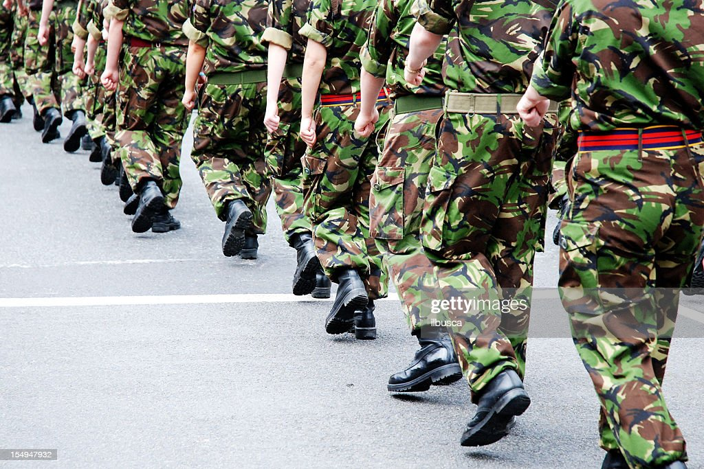Soldiers marching in line : Stock Photo
