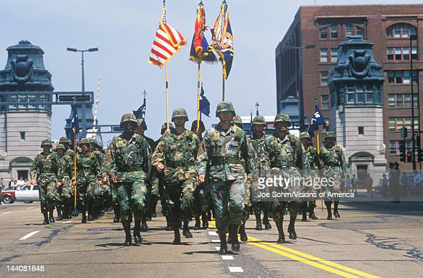 Soldiers Marching in United States Army Parade, Chicago, Illinois