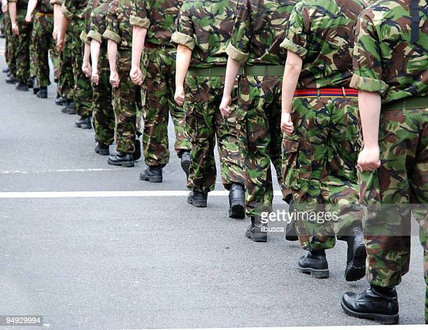 soldiers marching - britain stock pictures, royalty-free photos & images