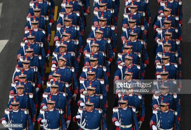 Soldiers of a Romanian guard regiment take part in the military parade on Romania's National Day in Bucharest December 1 2018 Romanias 100th National...