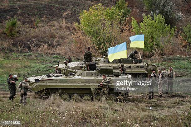 Soldiers of Aidar battalion during their military training in the ATO conflict zone close to Lugansk