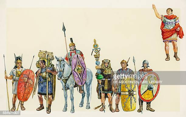 Soldiers of ancient Rome from left Roman soldier of Thrace Legionnaire of Mario Vespasian knight standard of Mario soldier of Augustus soldier of...
