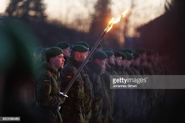 Soldiers of armored infantry battalion Panzergrenadierbataillon 122 of the Bundeswehr the German armed forces attend a ceremony to mark their pending...