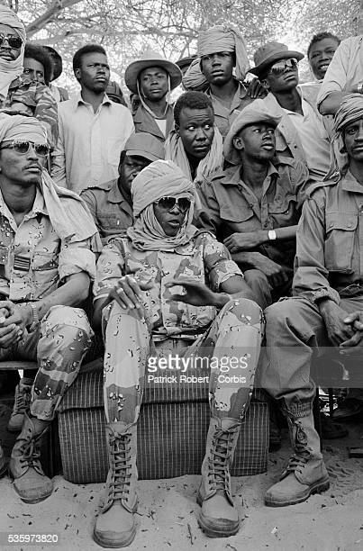 Soldiers of FANT the Chadian National Army gather around their leader Idriss Deby during a press conference after reconquering the...