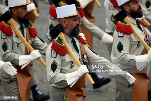 Soldiers of French Foreign Legion take part in the Bastille Day military parade down the ChampsElysees avenue in Paris on July 14 2019