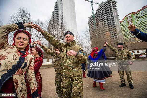 Soldiers of Georgia National Legion take part in Maslenitsa festivities in Mamayeva Sloboda Kyiv Ukraine on March 13 2016
