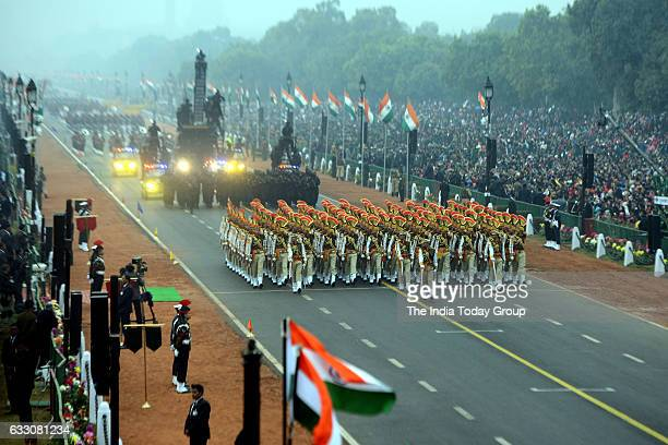 Soldiers of Indian Armed forces march along Rajpath the ceremonial boulevard during Republic Day parade in New Delhi