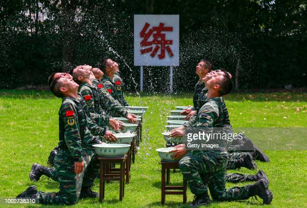 Soldiers of Jiangsu Armed Police Corps attend a military drill on July 17 2018 in Taizhou Jiangsu Province of China
