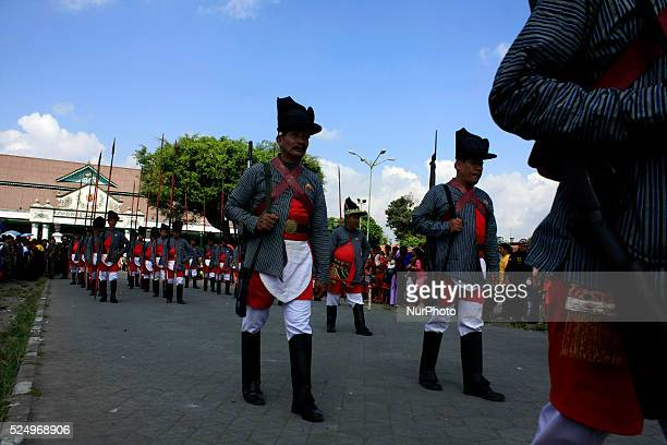 Soldiers of Kraton Palace parade during Grebeg Syawal ceremony on July 29, 2014 in Yogyakarta, Indonesia. Grebeg Syawal is a tradition held by the...